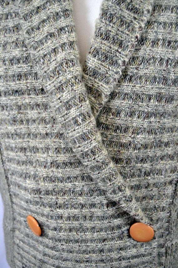 Retro Cropped Grey 80's 90's Cardigan Top - image 4