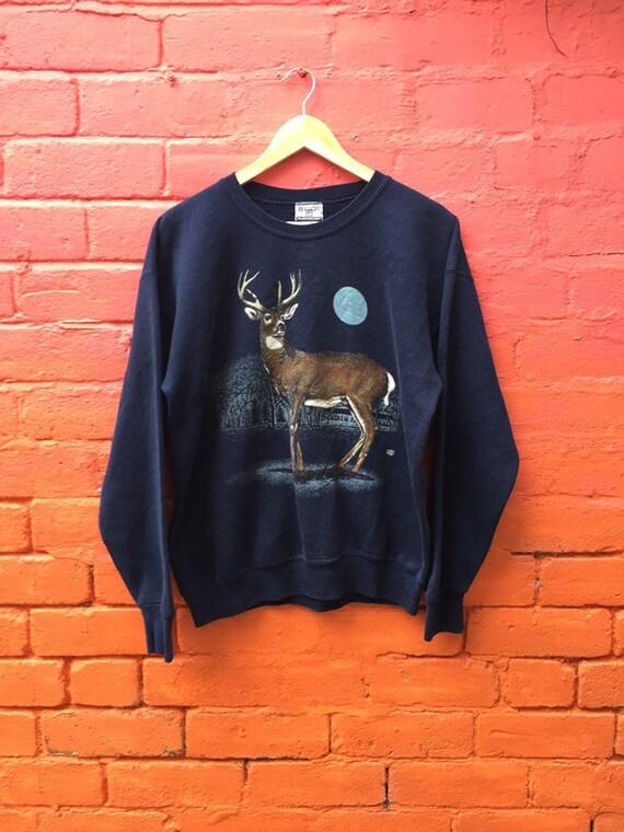 Vintage 90s nature print stag deer moonlight navy