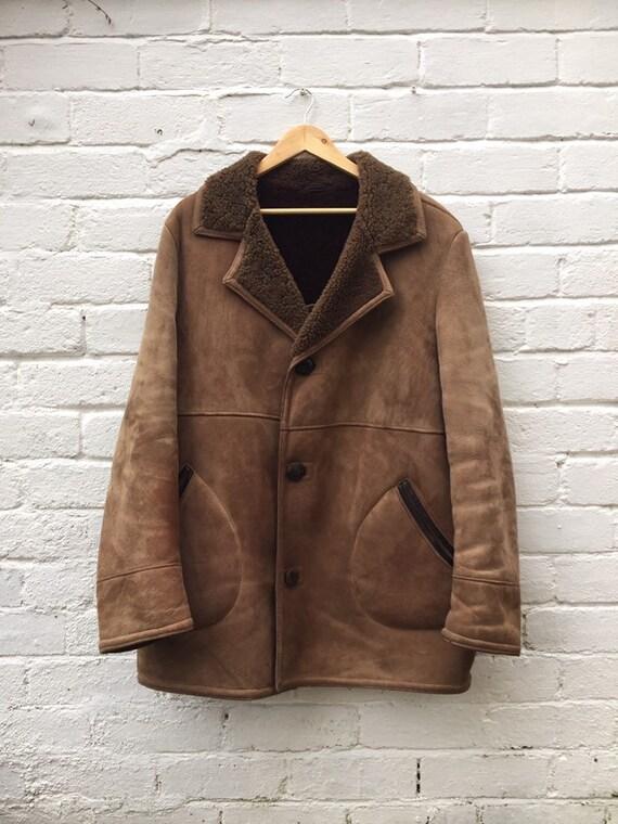 Mens Vintage 70s Afghan Sheepskin Shearling coat s