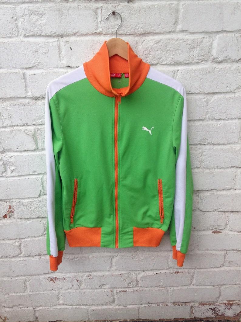 Y2K Vintage Puma Track Top Jacket Size S Full Zip. Ivory Coast Orange & Lime.
