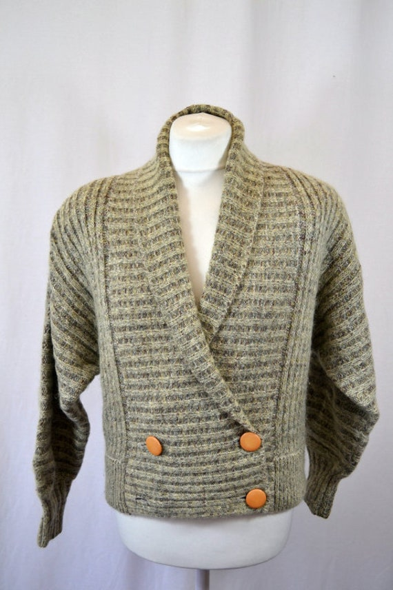Retro Cropped Grey 80's 90's Cardigan Top - image 1