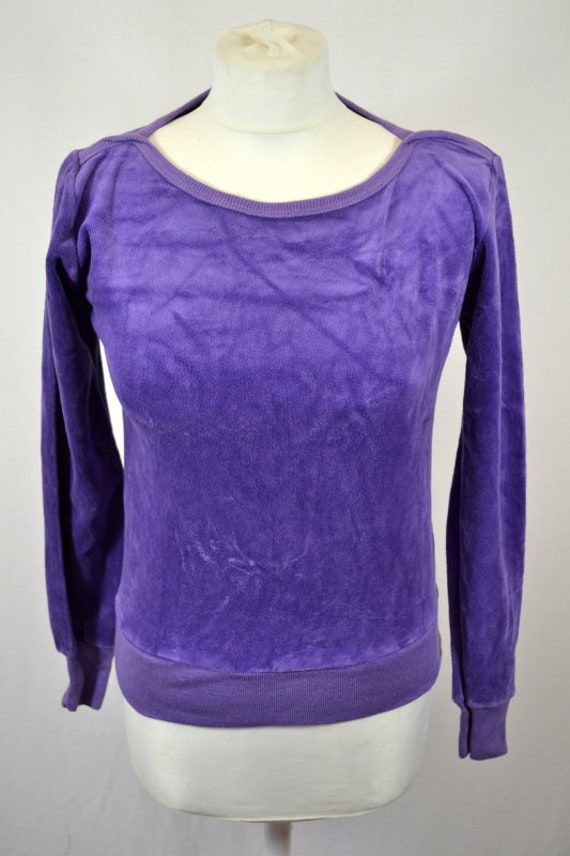 Vintage Puple Velour Sweater Top 80's 70's Retro
