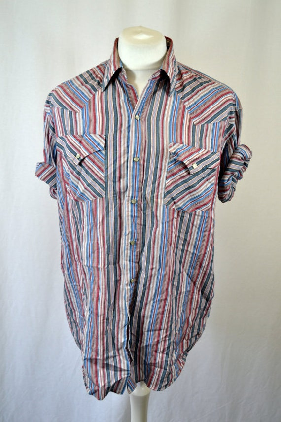 Vintage Striped 70's 80's Western Shirt