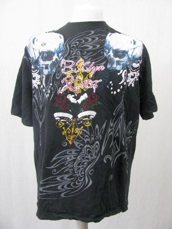 Rétro 90 Print T-Shirt Vintage noir crânes bloc avant & Floral Print 90 dos 923bf8
