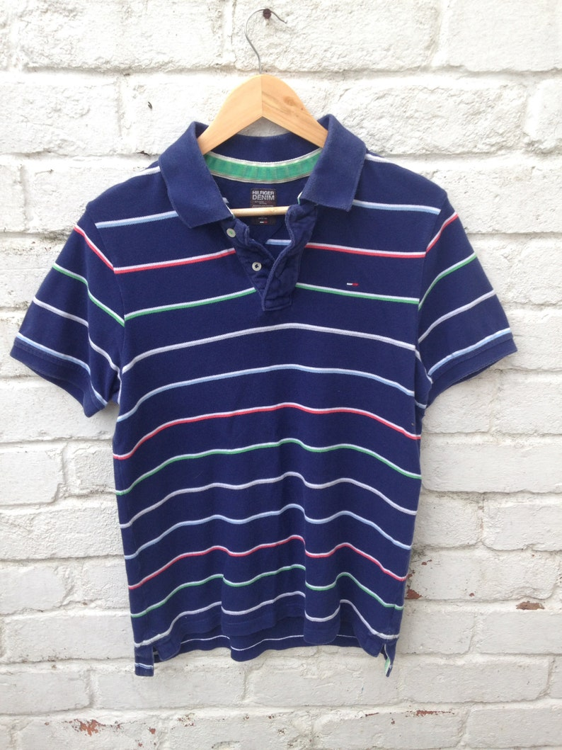 bddc8729 90s casuals Tommy Hilfiger striped polo | Etsy