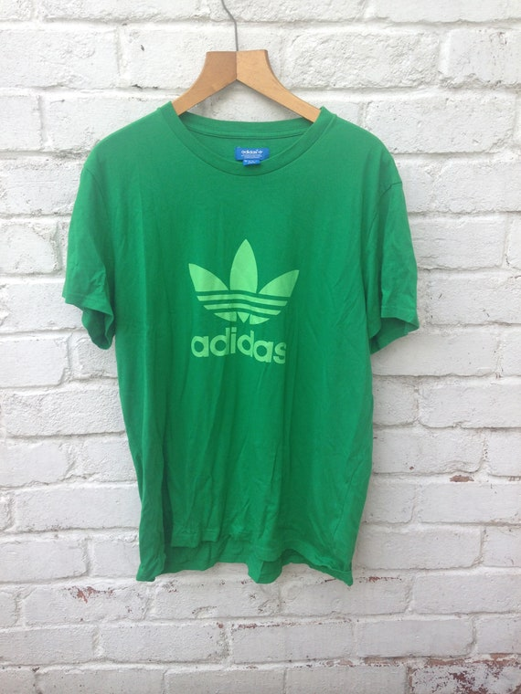 90s Vintage Adidas trefoil Green On Green XL Crew Neck  fff81d186ee9