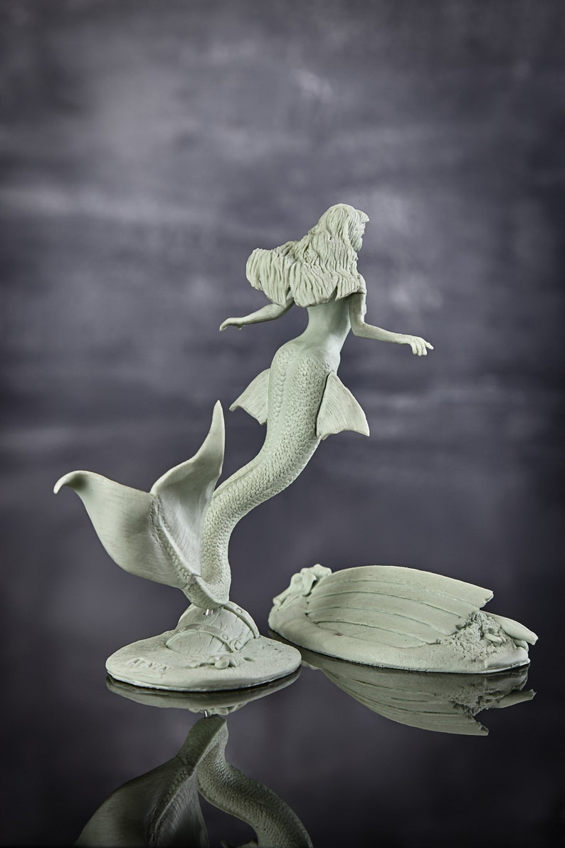 Resin Kit Model naked figure girl. Mermaid 75mm Toy Fully