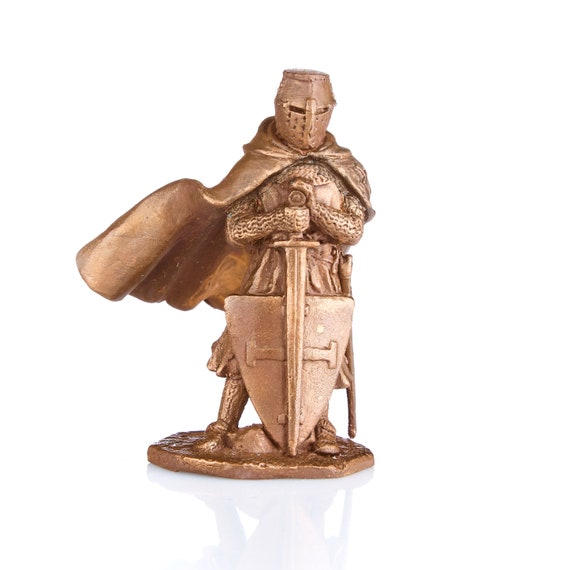 Мedieval Knights of the Knights Templar Model 54mm Copper figur Templar Сollection miniatur Gift for man 1 32 Table centerpiece Home decor