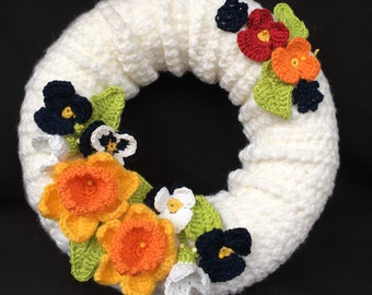 Spring wreath, custom made, mothers day gift, crochet flower wreath, door and wall hanger, floral arrangement, Christmas gift, for mum,