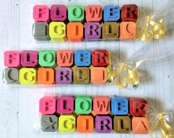 Flower Girl Wedding Favours, Flower Girl Crayons, Kids Wedding Favours, Crayon Gift, Wedding Table Activities