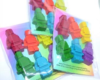 Mini Figure Crayons, Crayon Men Shapes, Lego Figure Crayons, Birthday Gift, Rainbow Crayon, Party Favours, Novelty Gift, Blocs Crayon