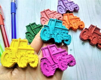 Tractor Shaped Crayons, Farm Yard Crayons, Tractor Favours, Birthday Gift, Farm Yard Favours, Tractor Party Crayon, Kids Party Favours