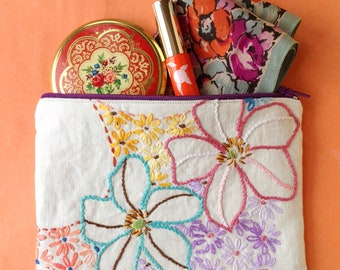Zip purse, small makeup cosmetic bag, coin purse made with vintage embroidered fabric.
