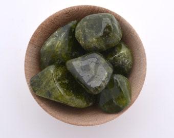 Idocrase tumblestone, vesuvianite tumbled stone crystal one piece