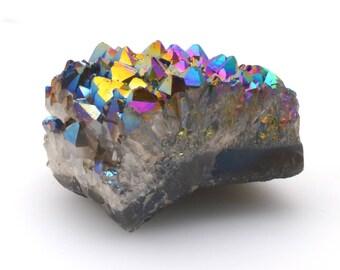 Rainbow aura quartz dipped crystal cluster, flame Aura Quartz, 987 g (2.17 lb)