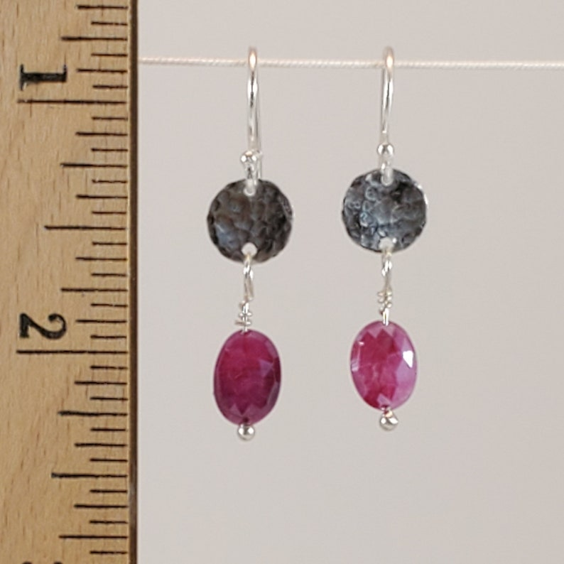 Fuchsia Moonstone and Sterling Silver Dangle Earrings  E132