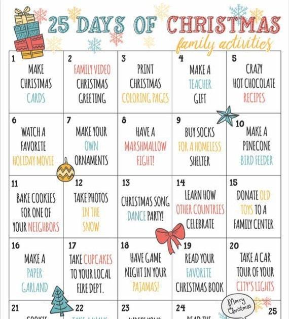 Christmas Countdown Calendar of Fun Family Activities