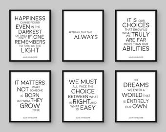 Harry Potter Print. Set of 6. Albus Dumbledore Quote. Printable Poster. Happiness. After All. It Matters. In Dreams. It Is Our Choices