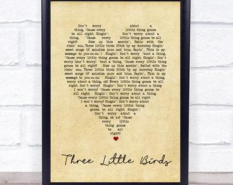 Three Little Birds Vintage Heart Quote Song Lyric Print