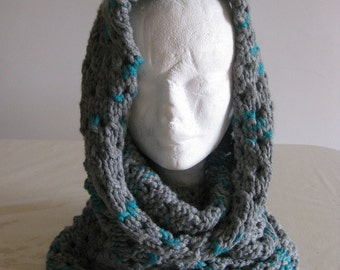 Handmade infinity scarf, wool head warmer,soffice scaldacollo in lana grigio e verde,knitted scarf, gray melange scarf, handmade wool scarf