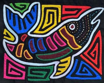 Panama Mola, Pez Mola,  Fish Mola, Medium Size Mola, Mola Moderna, Modern Mola, Kuna Yala, Mola, Panama, Geometric Mola