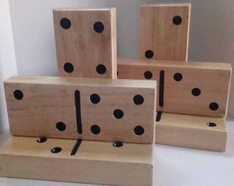 Handmade Wood Domino Bookends