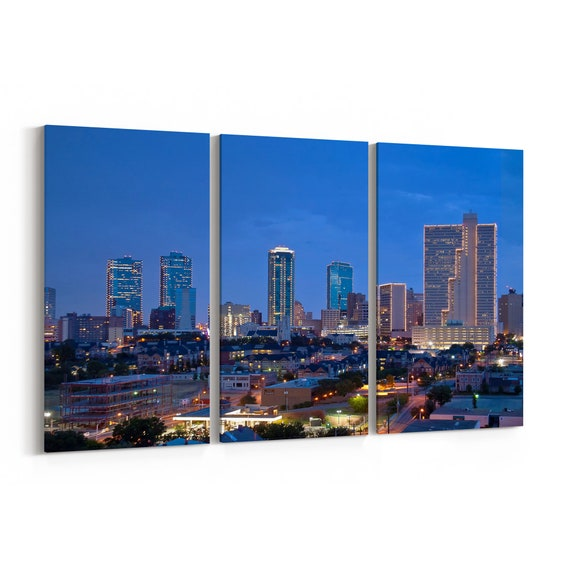 Fort Worth Skyline Wall Art Canvas Fort Worth Canvas Print Multiple Sizes Wrapped Canvas on Wooden Frame