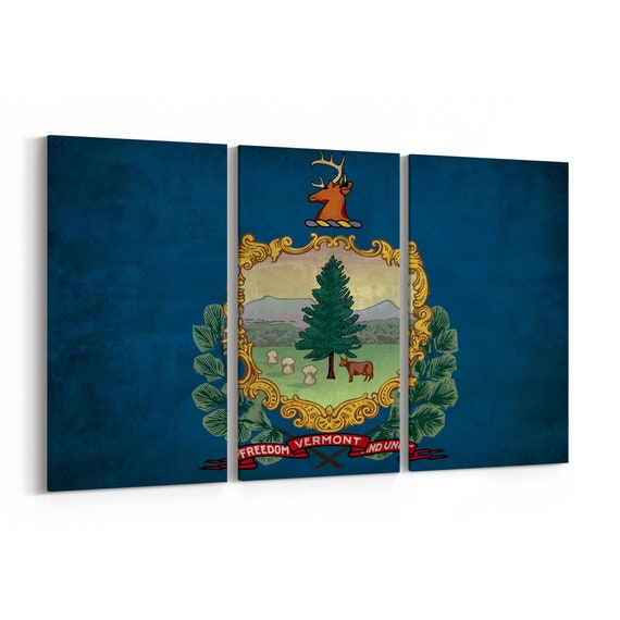 Vermont State Flag Canvas Print Vermont State Flag Wall Art Canvas Multiple Sizes Wrapped Canvas on Wooden Frame