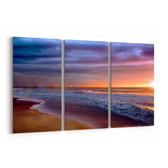 Sunset beach Canvas Print Sunset beach Canvas Art Multiple Sizes Wrapped Canvas on Wooden Frame