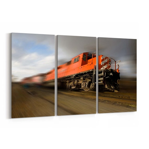 Train Canvas Print Train Wall Art Canvas Multiple Sizes Wrapped Canvas on Wooden Frame