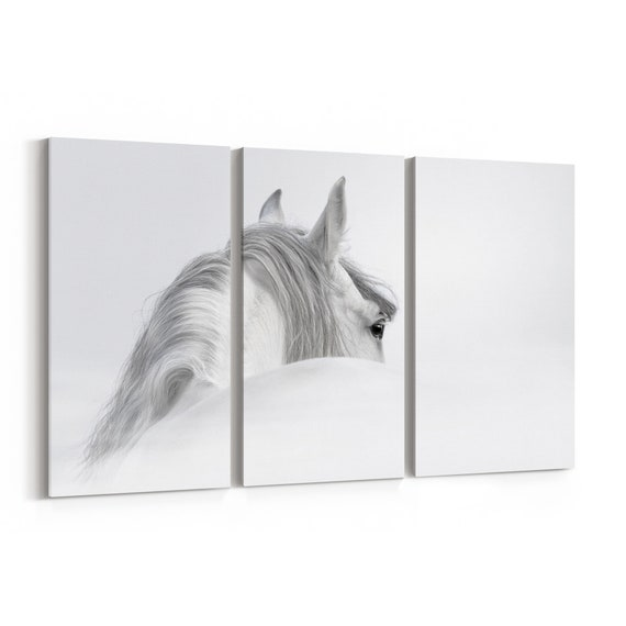 White Horse Wall Art Canvas White Horse Canvas Print Multiple Sizes Wrapped Canvas on Wooden Frame