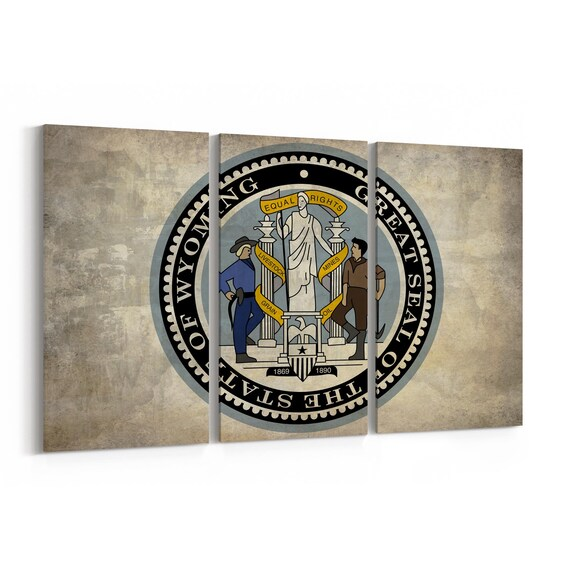 Wyoming State Seal Wall Art Canvas Wyoming State Seal Canvas Print Multiple Sizes Wrapped Canvas on Wooden Frame
