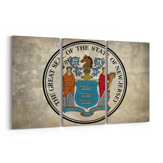 New Jersey State Seal Wall Art Canvas New Jersey State Seal Canvas Print Multiple Sizes Wrapped Canvas on Wooden Frame