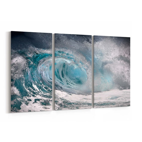 Sea Wave Wall Art Canvas Sea Wave Canvas Print Multiple Sizes Wrapped Canvas on Wooden Frame