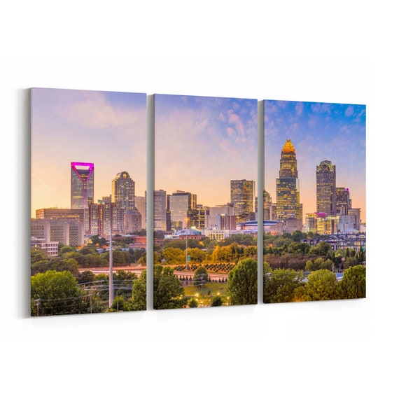 Charlotte Canvas Print Charlotte Wall Art Canvas North Carolina Multiple Sizes Wrapped Canvas on Wooden Frame