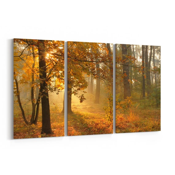 Autumn Forest Canvas Print Autumn Forest Canvas Art Multiple Sizes Wrapped Canvas on Wooden Frame