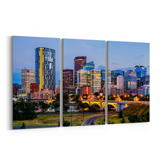 Calgary Canvas Art Calgary Wall Art Canvas Multiple Sizes Wrapped Canvas on Wooden Frame
