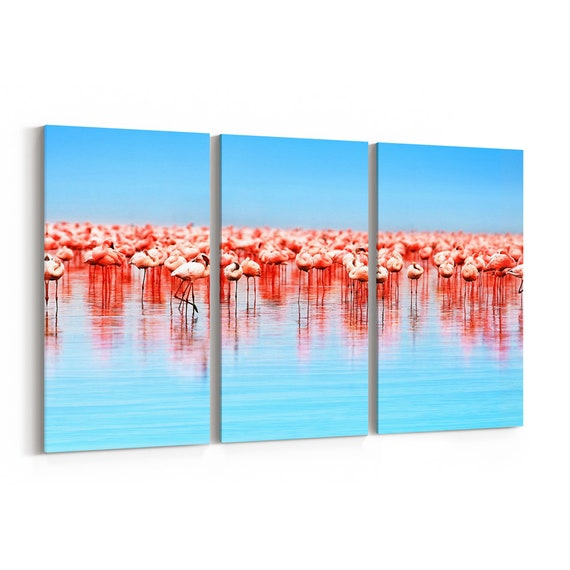 Flamingo Birds Canvas Print Flamingo Birds Wall Art Canvas Multiple Sizes Wrapped Canvas on Wooden Frame