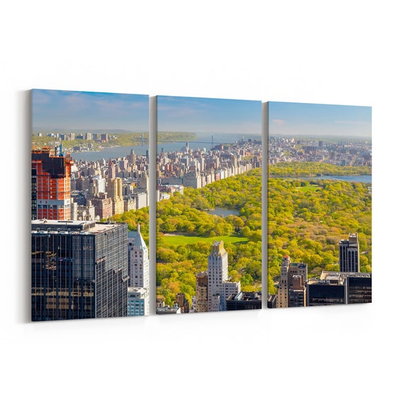 Central Park Skyline Wall Art Canvas Central Park Canvas Print Multiple Sizes Wrapped Canvas on Wooden Frame