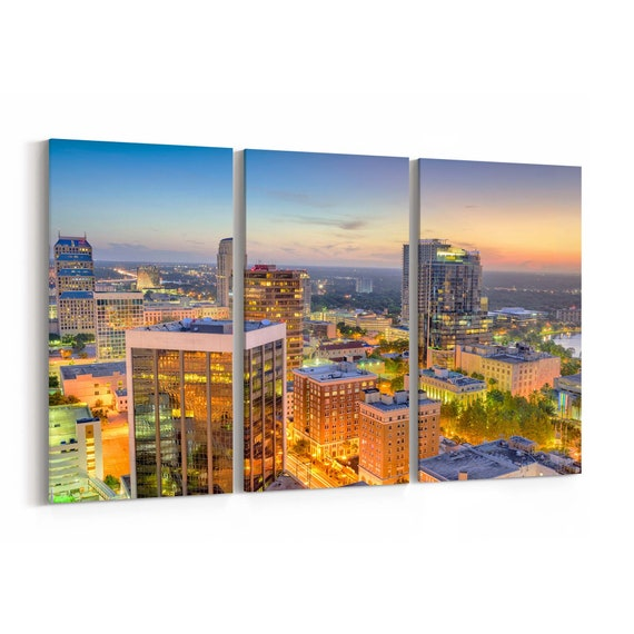 Orlando Skyline Wall Art Canvas Orlando Canvas Print Florida Multiple Sizes Wrapped Canvas on Wooden Frame