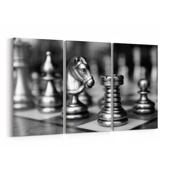 Chess Canvas Print Chess Wall Art Canvas Multiple Sizes Wrapped Canvas on Wooden Frame
