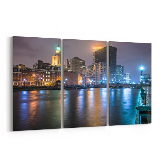 Providence Skyline Wall Art Providence Canvas Rhode Island Multiple Sizes Wrapped Canvas on Wooden Frame
