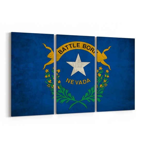 Nevada State Flag Canvas Print Nevada State Flag Wall Art Canvas Multiple Sizes Wrapped Canvas on Wooden Frame