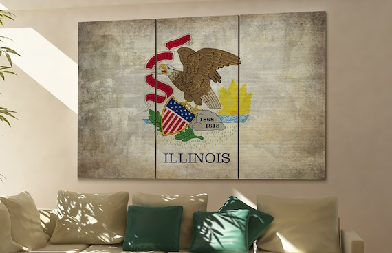 Illinois state flag Illinois flag state of Illinois Illinois wall decor Illinois wall art Illinois gift