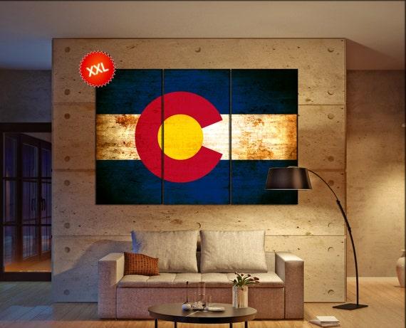 Colorado state flag  canvas Colorado state flag wall decoration Colorado state flag canvas art Colorado state flag large canvas