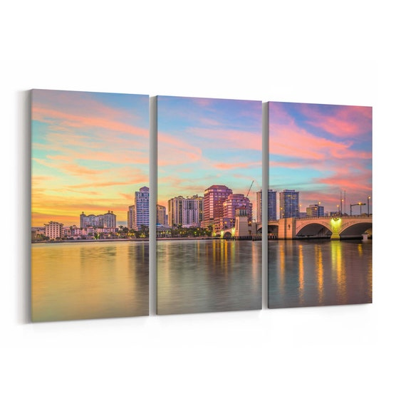West Palm Beach Skyline Wall Art Canvas West Palm Beach Canvas Print Florida Multiple Sizes Wrapped Canvas on Wooden Frame