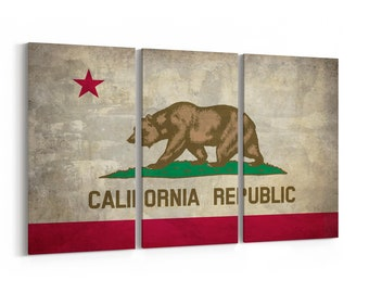 California State Flag Canvas Print California State Flag Wall Art Canvas Multiple Sizes Wrapped Canvas on Wooden Frame