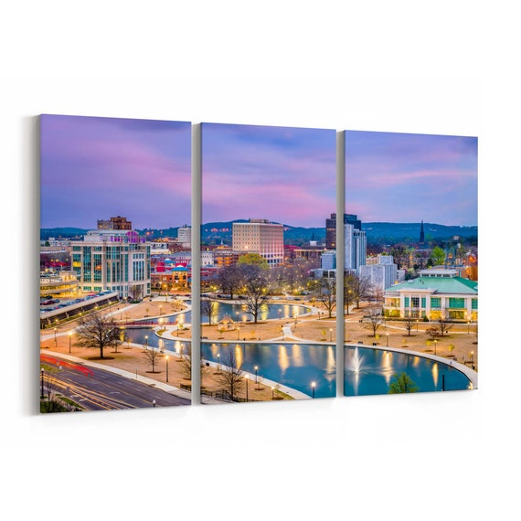 Huntsville Skyline Wall Art Canvas Huntsville Canvas Print Alabama Multiple Sizes Wrapped Canvas on Wooden Frame
