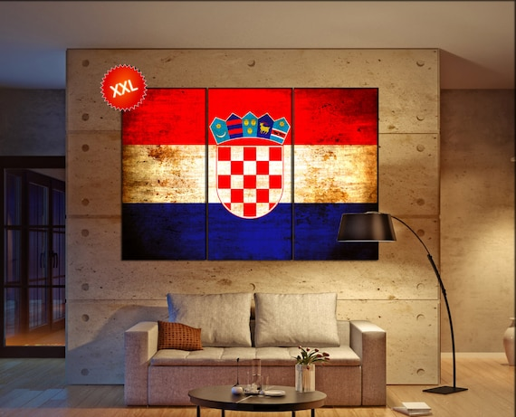 Croatia flag canvas wall art art print large  canvas wall art print Croatia country flag Wall Home office decor interior Office Decor