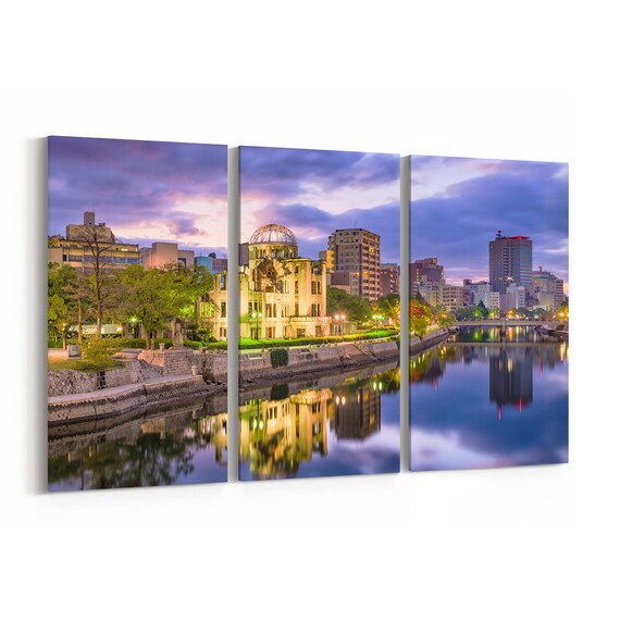 Hiroshima Skyline Wall Art Canvas Hiroshima Canvas Print Japan Multiple Sizes Wrapped Canvas on Wooden Frame